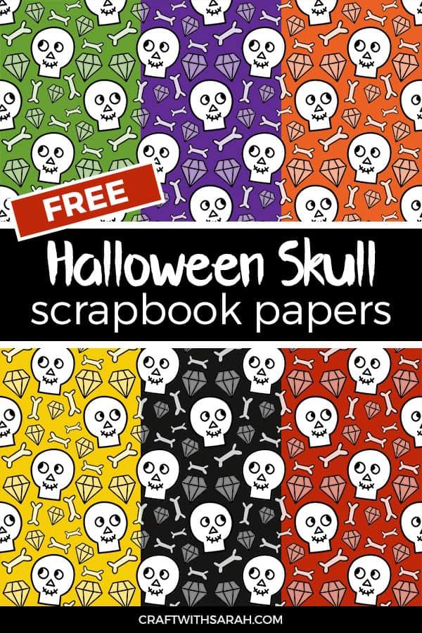 Halloween skulls scrapbook pages to download