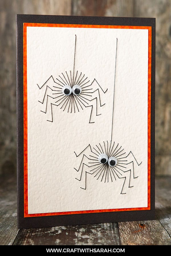 Halloween spiders stitching pattern. Stitch these cute spiders for Halloween handmade card fun.