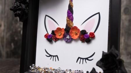 Easy DIY Halloween Unicorn Box Frame