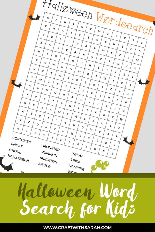 Halloween word search activity for kids
