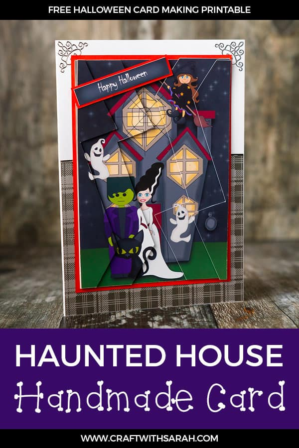 DIY Haunted House handmade card instructions & free Halloween printable. Make a Halloween card that really stands out with this Haunted House handmade card zigag stacker. #halloweenCard #halloweenCraft #hauntedHouse