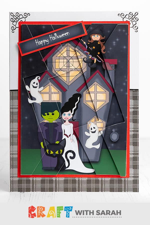 Haunted House zigzag stacker card for Hallloween. 3D card making kit for Halloween with a haunted house design.