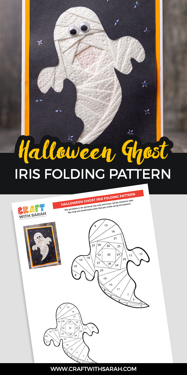 Iris folding ghost pattern and handmade card for Halloween.