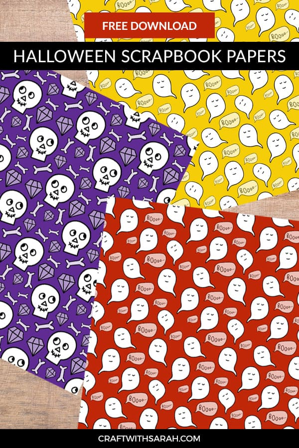 Free Halloween scrapbook papers. Decorate your Halloween scrapbook layouts with these cute ghosts & skulls scrapbook papers to download and print. #scrapbooking