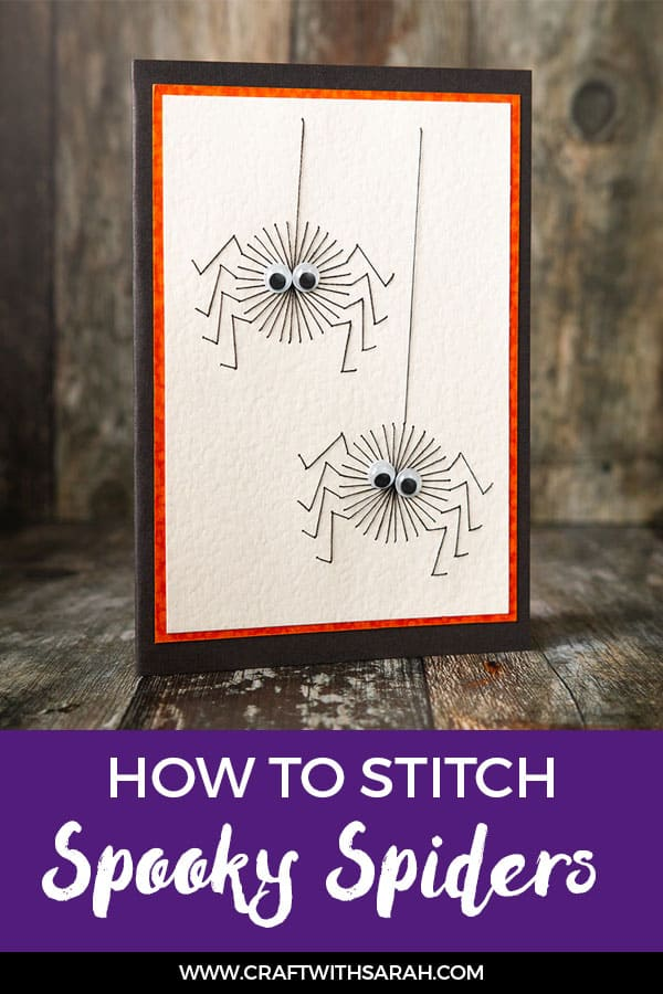 These little spooky spiders can't wait for you to stitch them into a paper embroidery card for Halloween! Download the free Halloween stitching pattern today. #embroidery #spidercraft #stitching