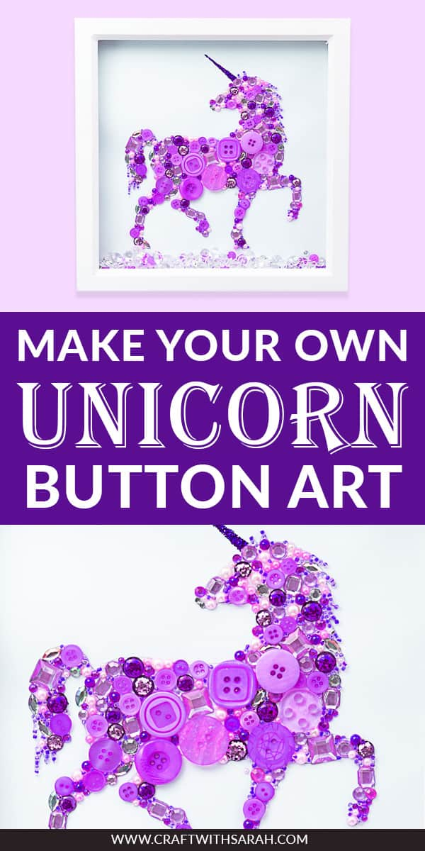 Unicorn button art frame. Learn how to DIY button art with this unicorn frame for nurseries. Make your own unicorn art with this fun unicorn craft project. #buttonart #unicornart