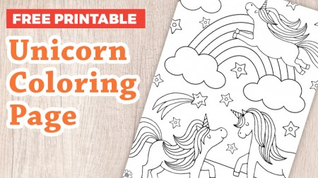Unicorn coloring page free to download