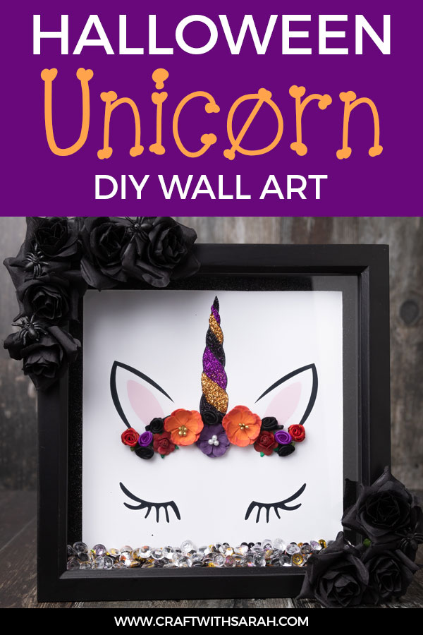 Do you love Halloween AND unicorns? Combine them both in this fun Halloween unicorn box frame and fill your home with spook-tacular DIY Halloween decor. #halloween #unicorncraft #halloweenunicorn