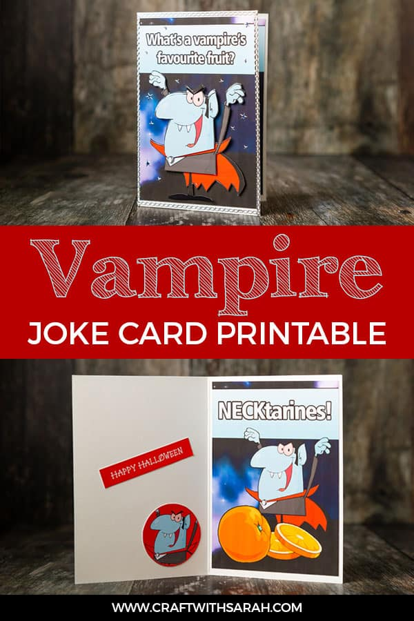 Vampire joke card printable. Here's a funny vampire joke card to make your friends and family laugh this Halloween. #halloween #halloweencraft