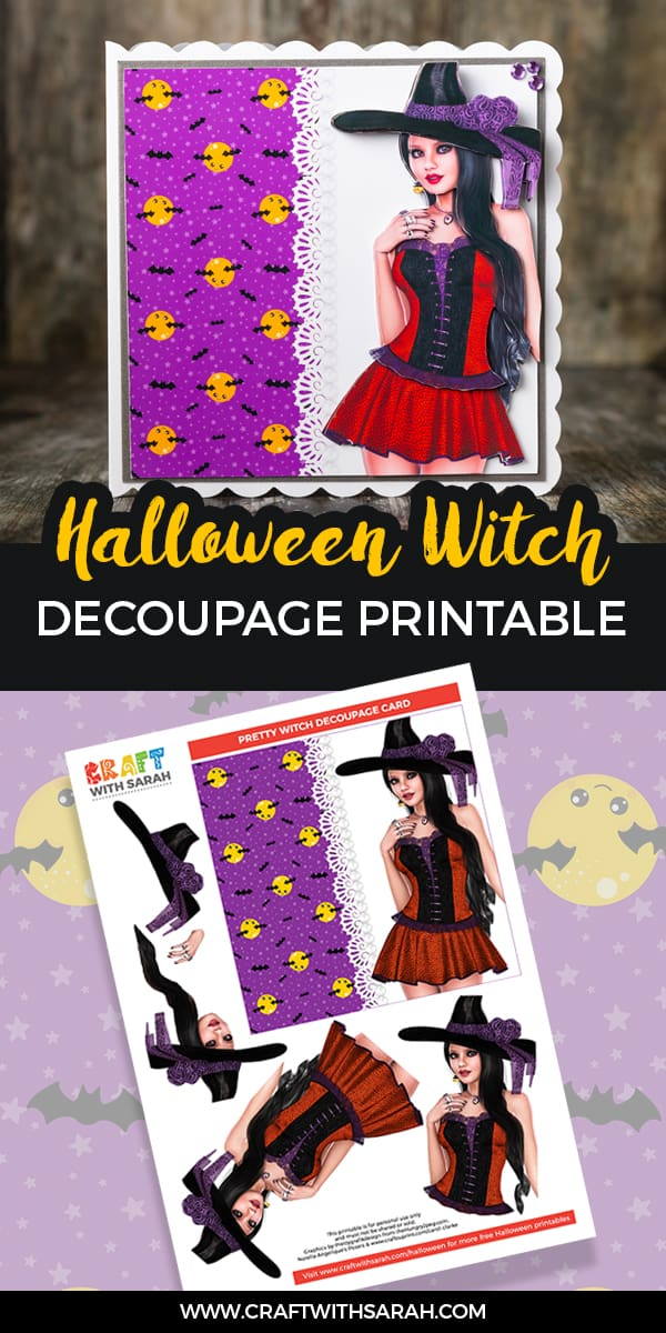 Halloween witch decoupage printable. Free decoupage card making download for Halloween.