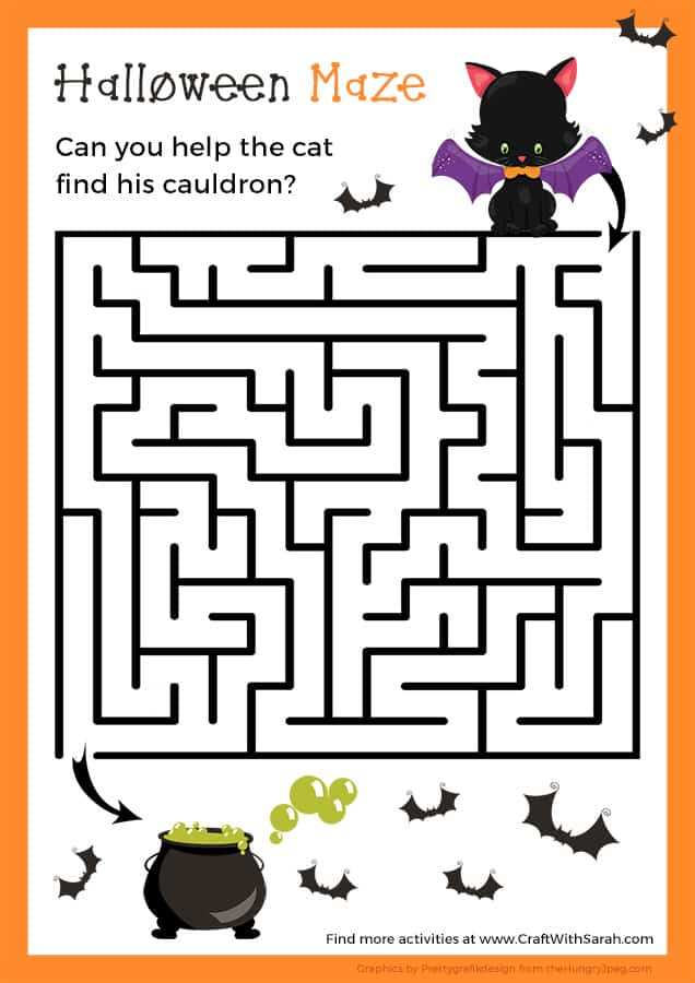 Fun Halloween maze printable game for kids. Fun Halloween games for kids to play.