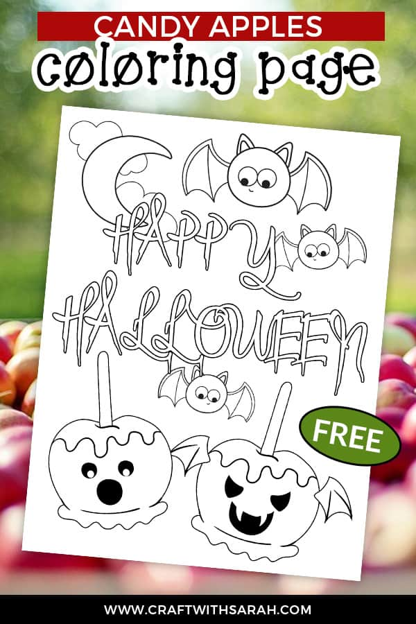 Color your sugar cravings away this Halloween with this fun 'spooky candy apples' coloring page. Free Halloween coloring page to print. #halloween #coloring