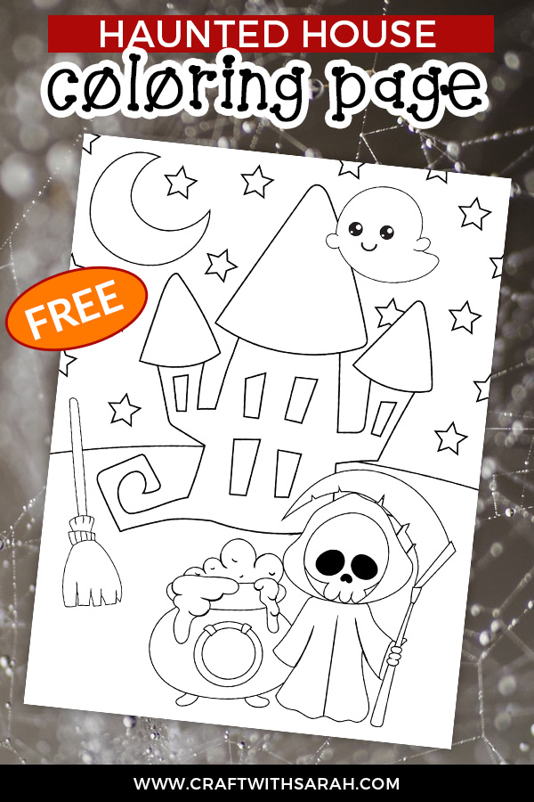 Looking for Halloween coloring pages? This Haunted House coloring page is free to download and print as many times as you want! #halloween #coloring