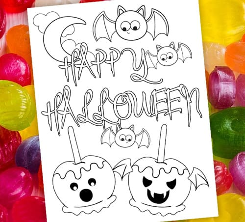 Spooky Candy Apples Coloring Page