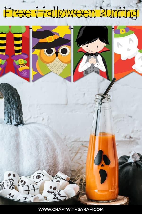 Free Halloween bunting printable to download and print. DIY bunting for Halloween with eight different designs to choose from. #halloween #bunting