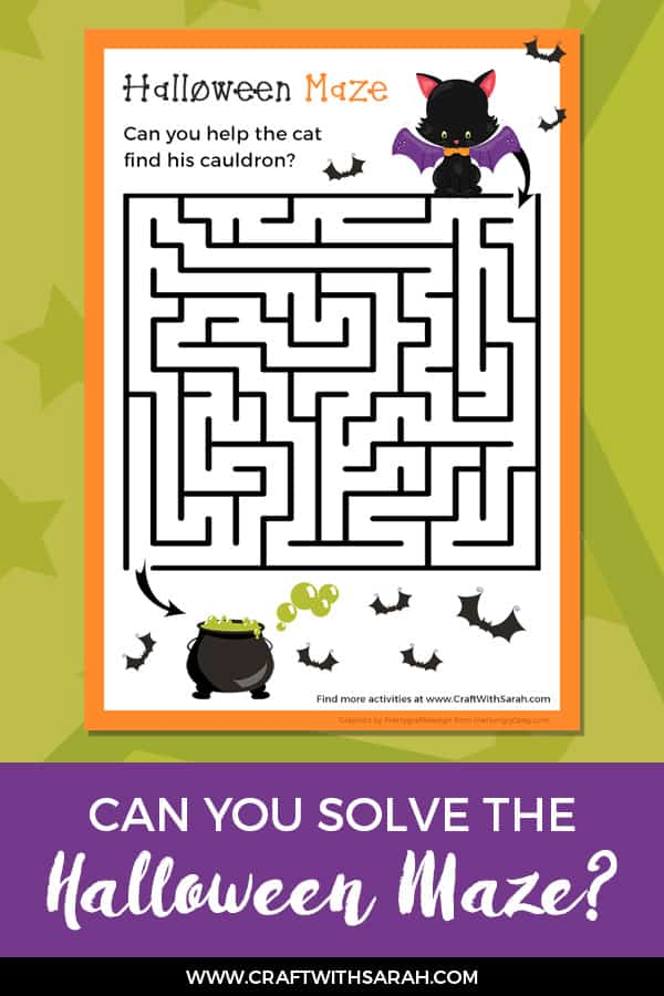 Challenge Time! Can you Solve this Halloween Maze Game? Can you help the cat find his missing cauldron in this brain-busting Halloween maze printable game? #halloweenfun #halloween #freeprintable