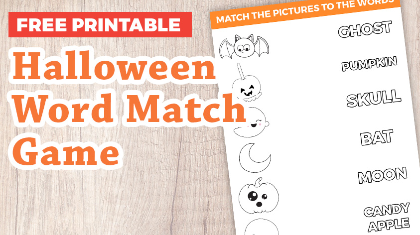 Fun Halloween Word Matching Game for Kids
