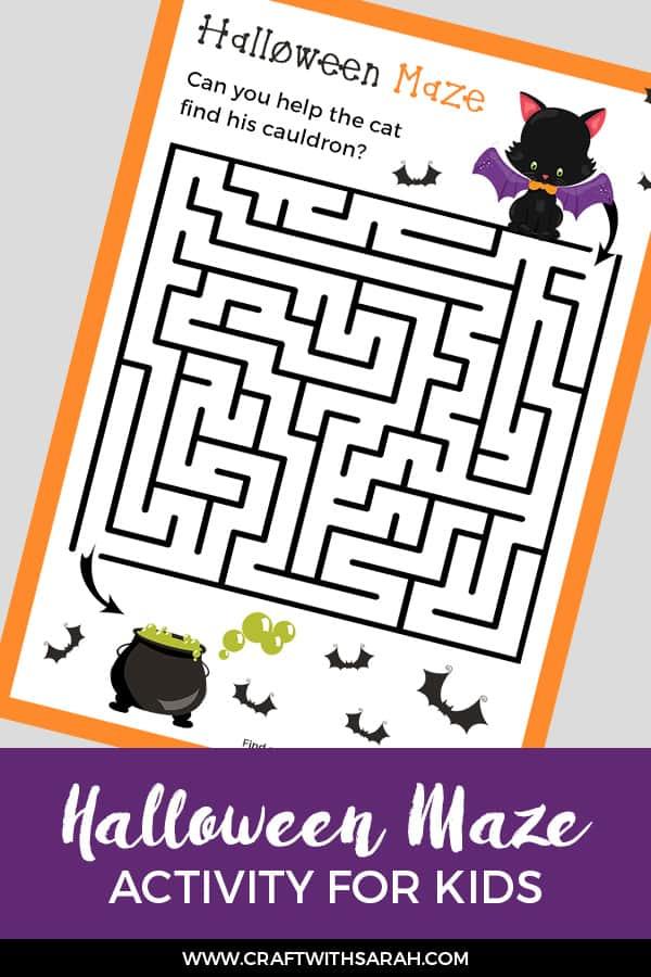 Fun Halloween maze activity for kids