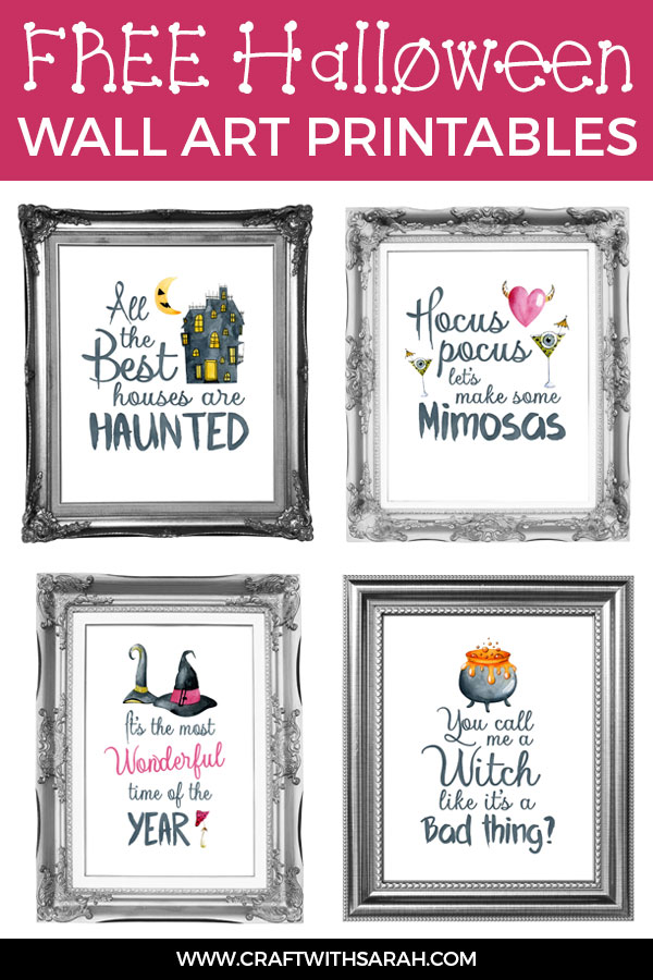 4 FREE Halloween wall art printables. Watercolour wall art for Halloween to print and frame today! #wallart #halloween #printables