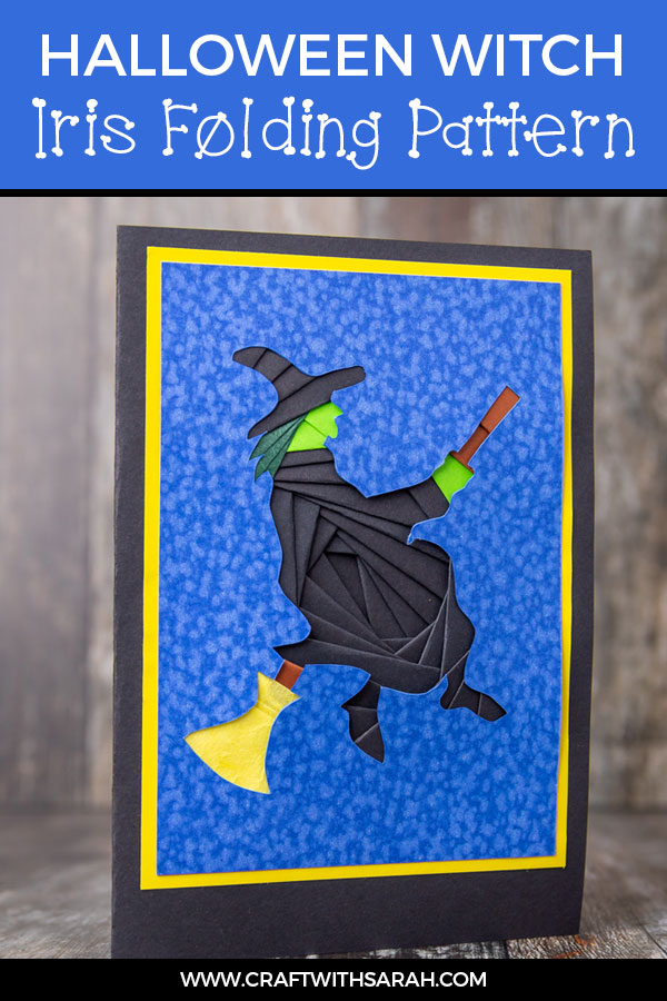 Halloween witch iris folding pattern. Fly my pretties, FLY! Have fun this Halloween with an iris folding witch card. Witchcraft is abound in this handmade witch card that's the ideal witch themed Halloween craft.