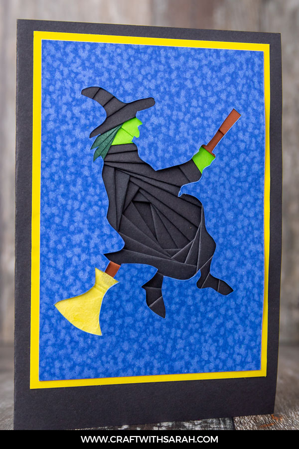 Halloween witch iris folding pattern and witch iris folded card