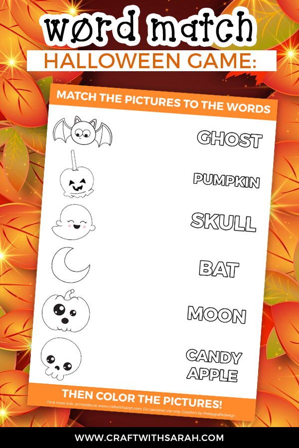 Halloween word matching game for kids. Free educational printable for kids at Halloween.