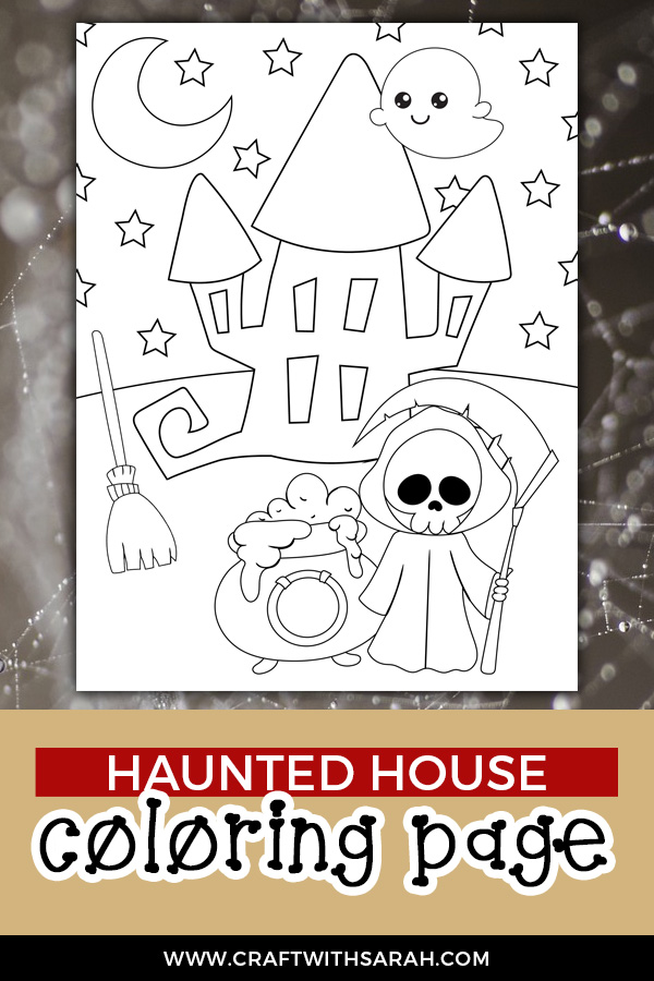 Free haunted house coloring page for Halloween. Download and print now!