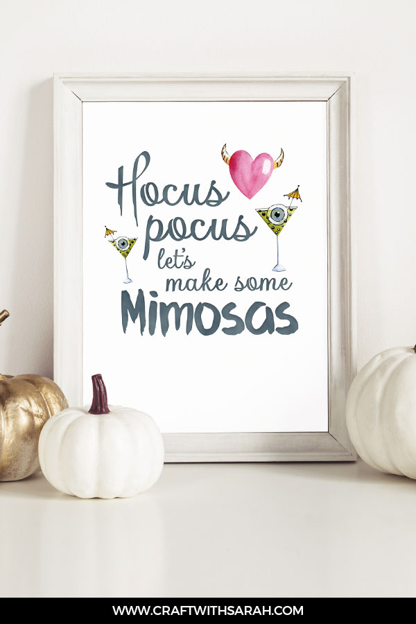 Hocus pocus, let's make some mimosas funny Halloween quote