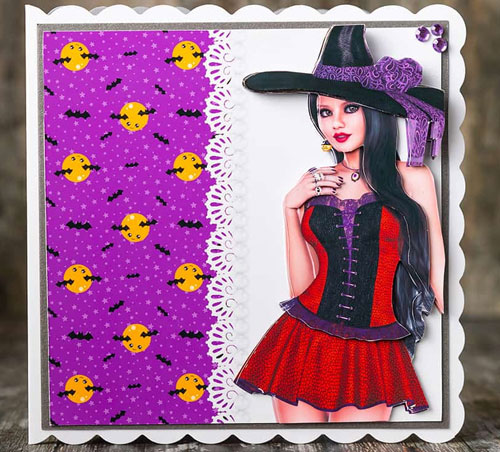 Pretty Witch Card Front & Decoupage