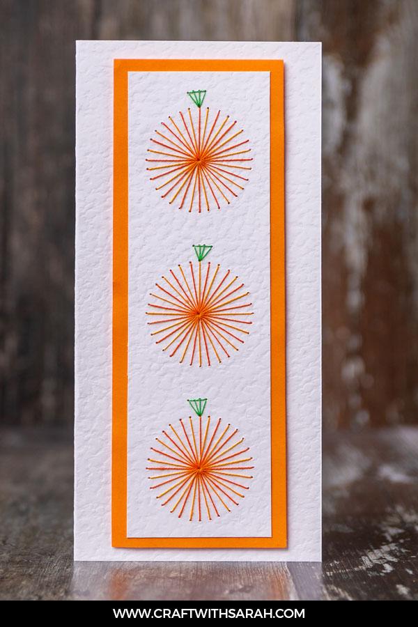 Perfect Pumpkins Card Stitching Pattern. Free paper embroidery pattern of pumpkins.