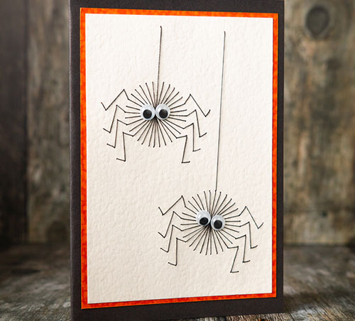 Spooky Spiders Halloween Embroidery for Cards