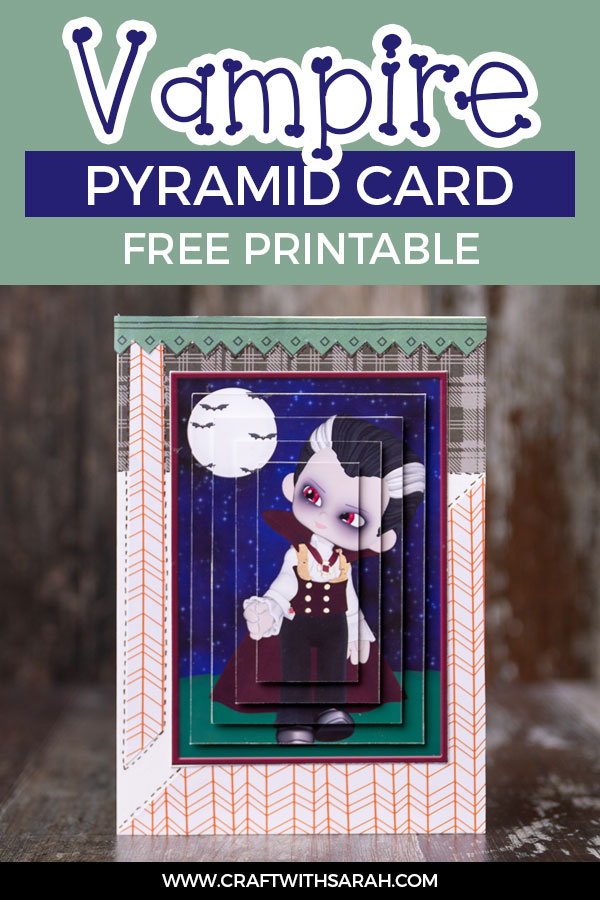 Download this free Halloween vampire boy pyramage card making sheet. Halloween pyramid printables for card making.