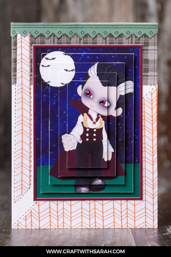 Vampire pyramage card for handmade card making.