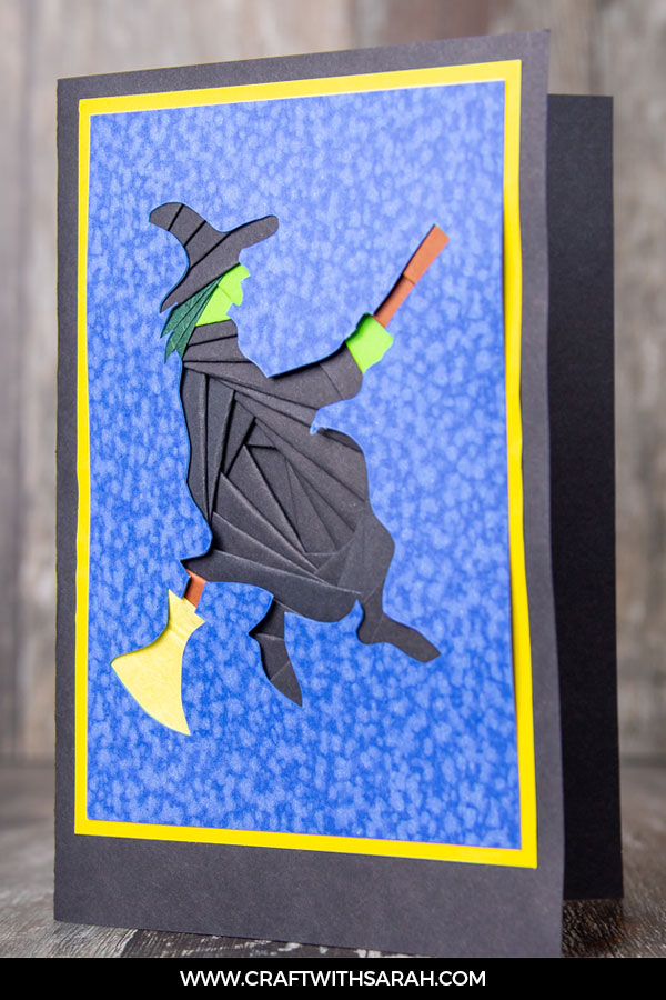Iris folding witch on broomstick handmade card