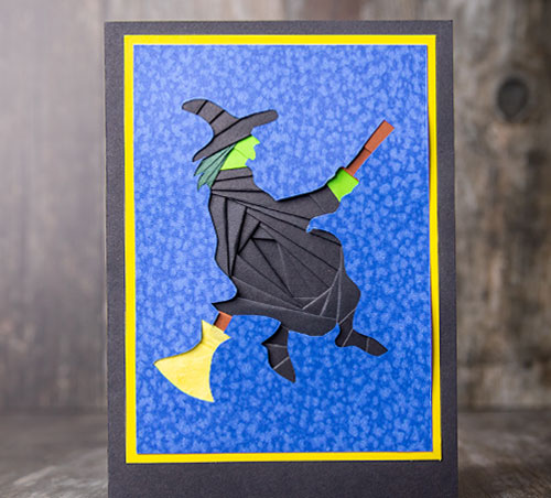 Flying Witch Iris Folding for Halloween