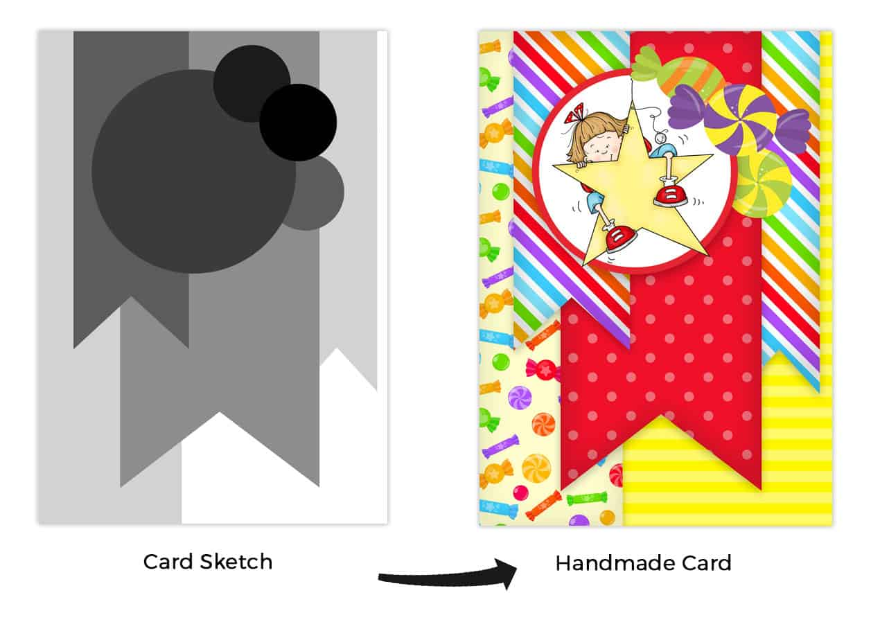 How to use a card sketch in your handmade cards