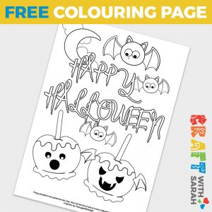 Spooky Candy Apples Colouring Page