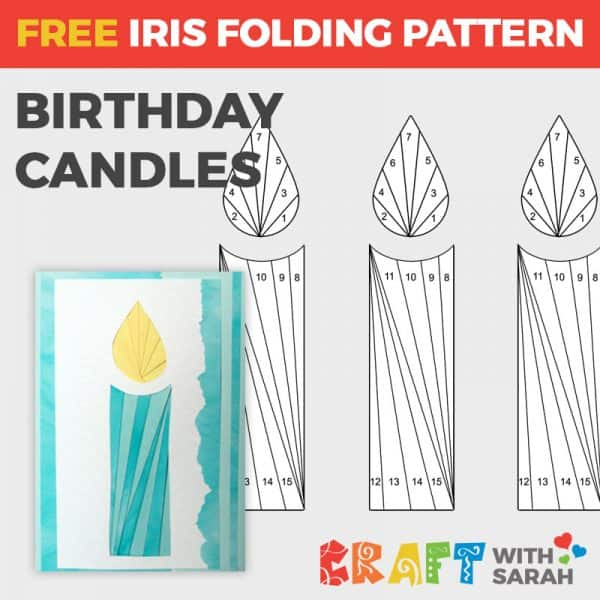 Birthday Candles iris folding pattern