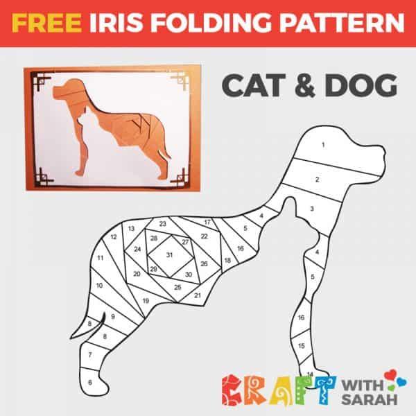 Cat and Dog Silhouette Iris Folding Pattern
