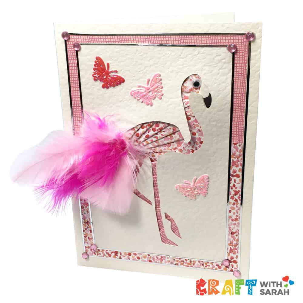Flamingo handmade card with free iris folding pattern