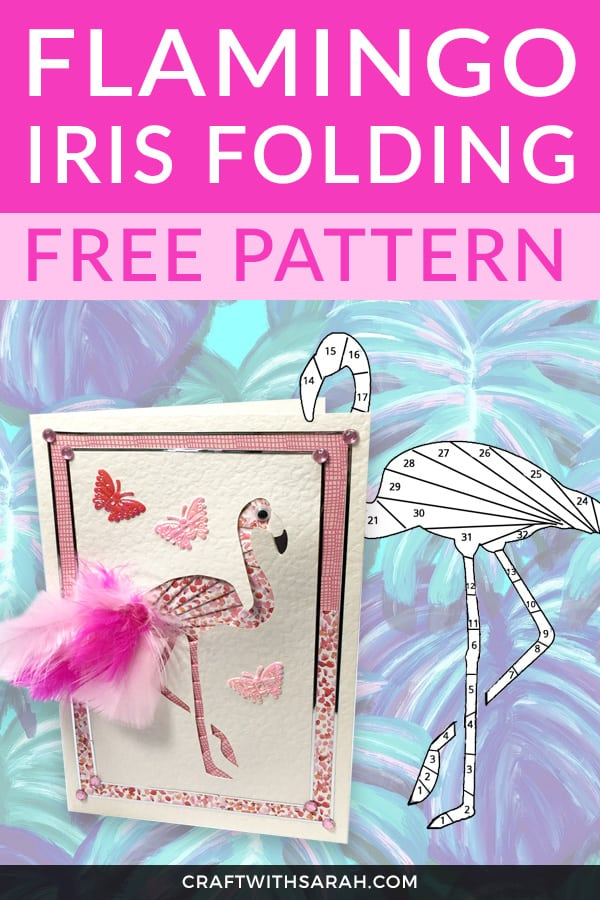 Be pretty in pink with this free flamingo iris folding pattern. Flamingos are super popular right now - jump in on the craze by crafting your own handmade flamingo greetings card. #flamingo