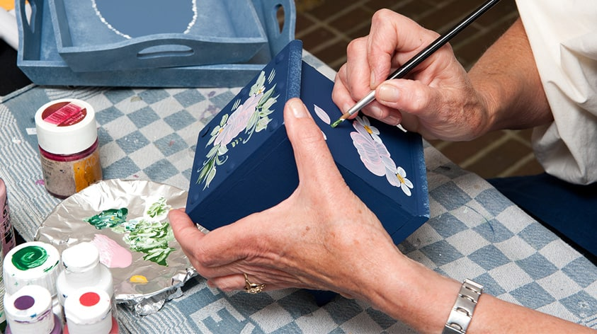 Painting a blue handmade box