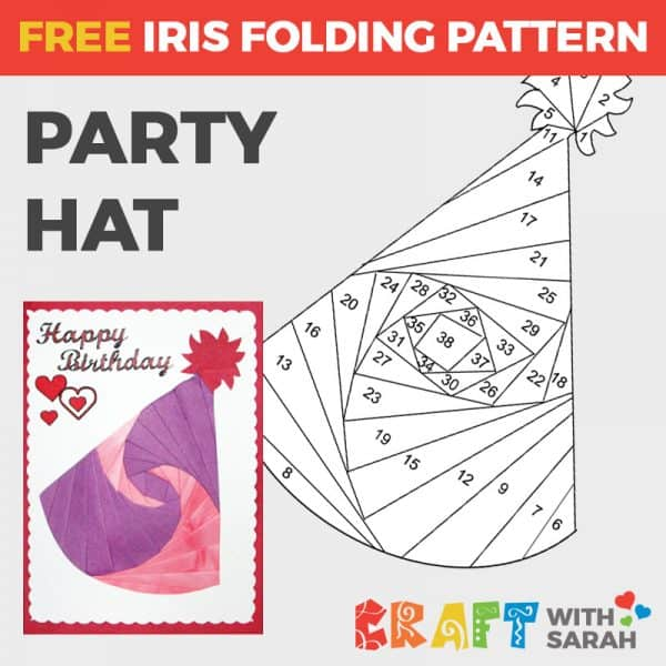 Party hat iris folding pattern