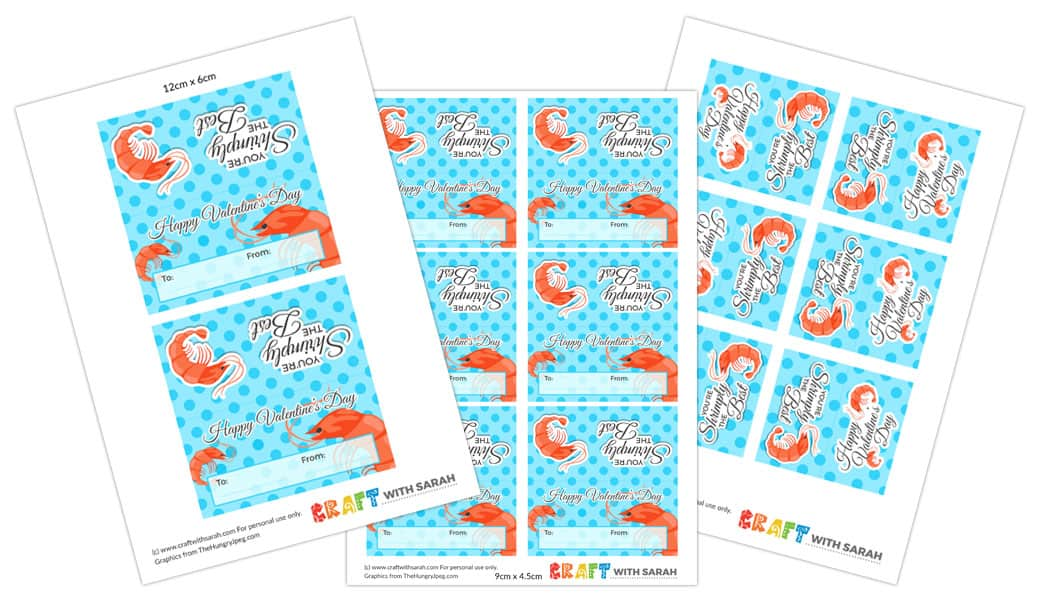 Shrimp themed Valentine's Day printable for kids in three different sizes