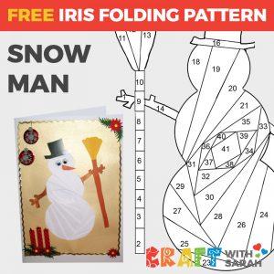 Snowman iris folding pattern