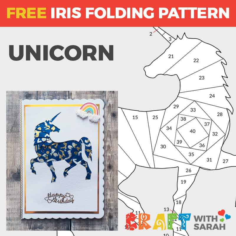 Unicorn iris folding pattern