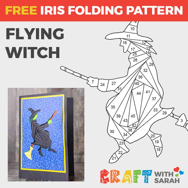 Flying Witch Iris Folding Pattern