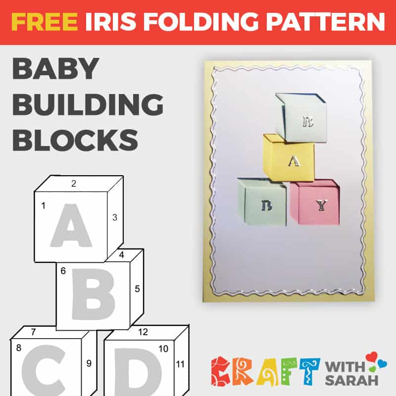 Baby Building Blocks Iris Folding Pattern