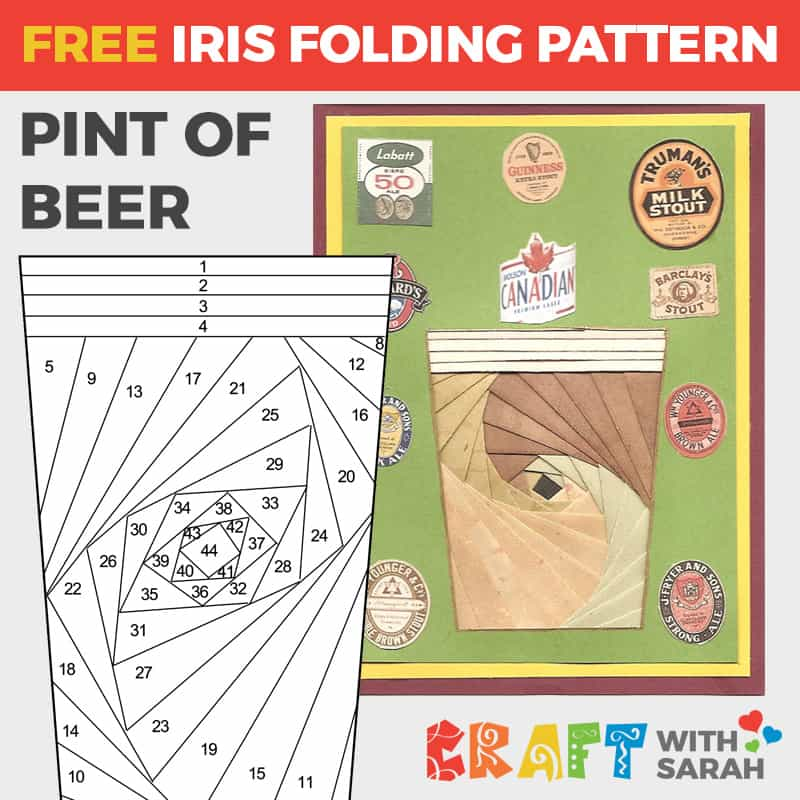 Pint of Beer Iris Folding Pattern