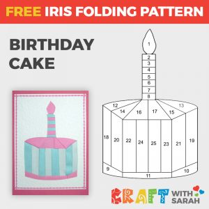 Birthday Cake Iris Folding Pattern
